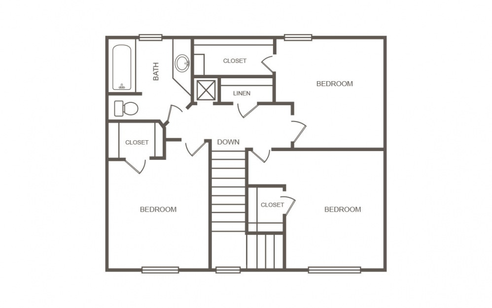 Aspen - 4 bedroom floorplan layout with 2 bath and 1445 square feet (2nd floor 2D)