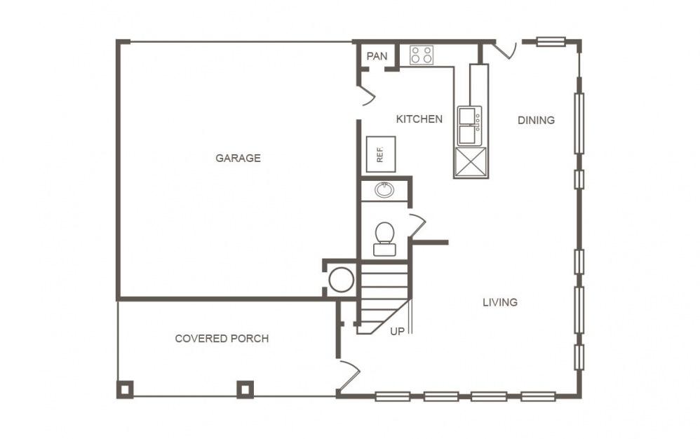 Cedar - 4 bedroom floorplan layout with 2.5 bath and 1429 square feet (1st floor 2D)