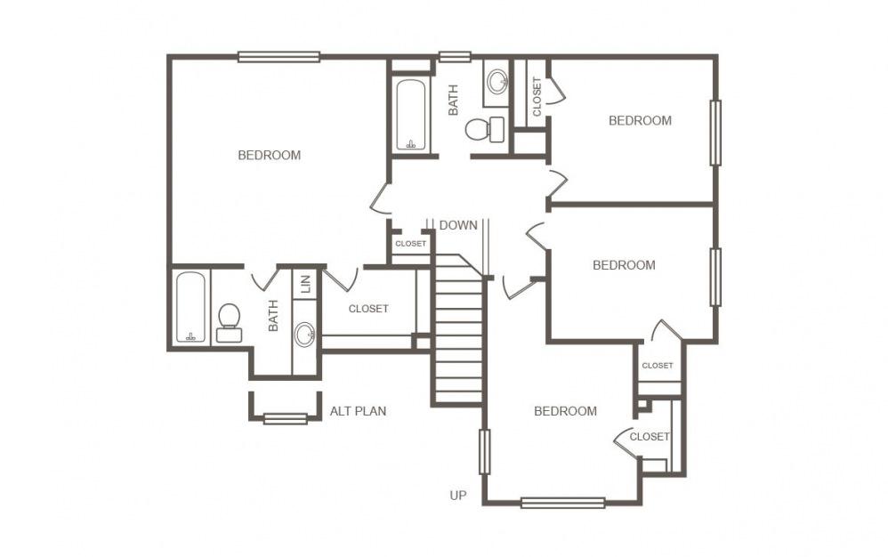 Cedar - 4 bedroom floorplan layout with 2.5 bath and 1429 square feet (2nd floor 2D)