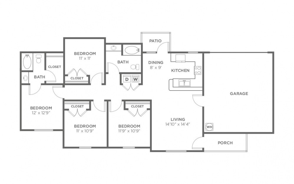 Juniper - 4 bedroom floorplan layout with 2 bath and 1408 square feet (1st floor 2D)