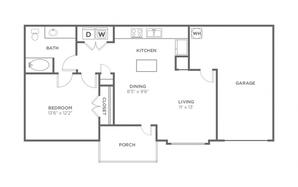 Maple - 1 bedroom floorplan layout with 1 bath and 736 square feet (1st floor 2D)