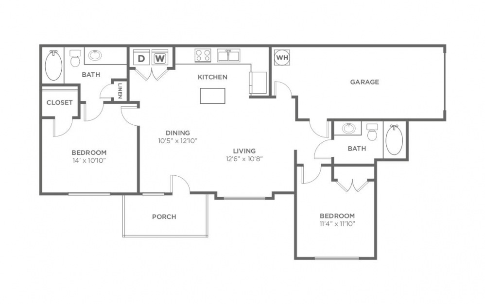 Oak - 2 bedroom floorplan layout with 2 bath and 1072 square feet (1st floor 2D)
