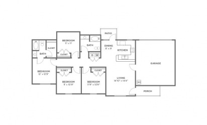 Juniper - 4 bedroom floorplan layout with 2 bath and 1408 square feet