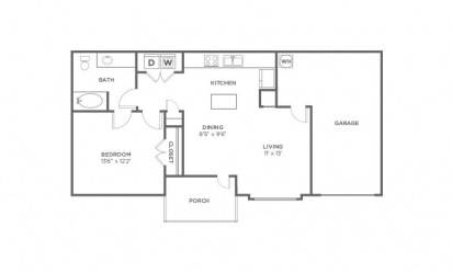 Maple - 1 bedroom floorplan layout with 1 bath and 736 square feet