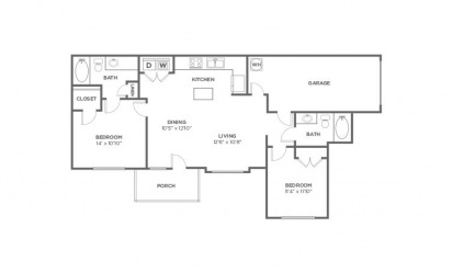 Oak - 2 bedroom floorplan layout with 2 bath and 1072 square feet