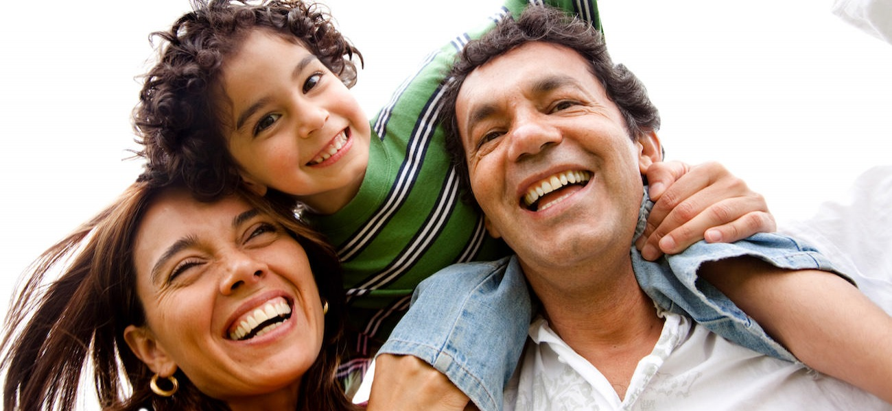 Homepage rotator with family of 3 smiling and laughing together